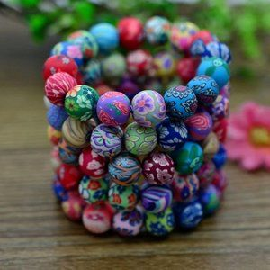 NWT Floral Candy Multi-Colored Beads Bracelet